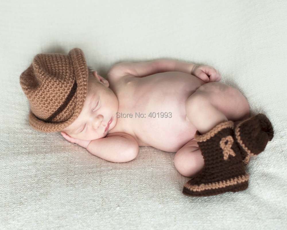 2015 New Handmade Crochet cowboy hat newborn baby boy caps snow ...
