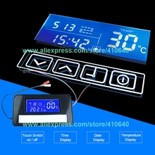K3014A LED Mirror Switch Touch Switch with Time and Temperature Display System On Mirror for Bathroom Cabinet Cupboard Sideboard