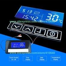K3014a led interruptor de toque espelho com tempo e sistema exibição temperatura no espelho para armário do banheiro aparador