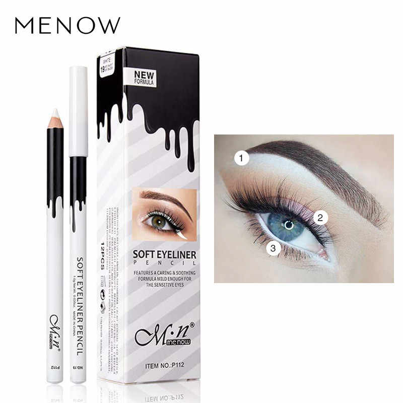 New  Hot Eye Liner Color Cheap Eye's Makeup High Quality Menow Brand Long Lasting Pigment Waterproof White Eyeliner Pencil Lot