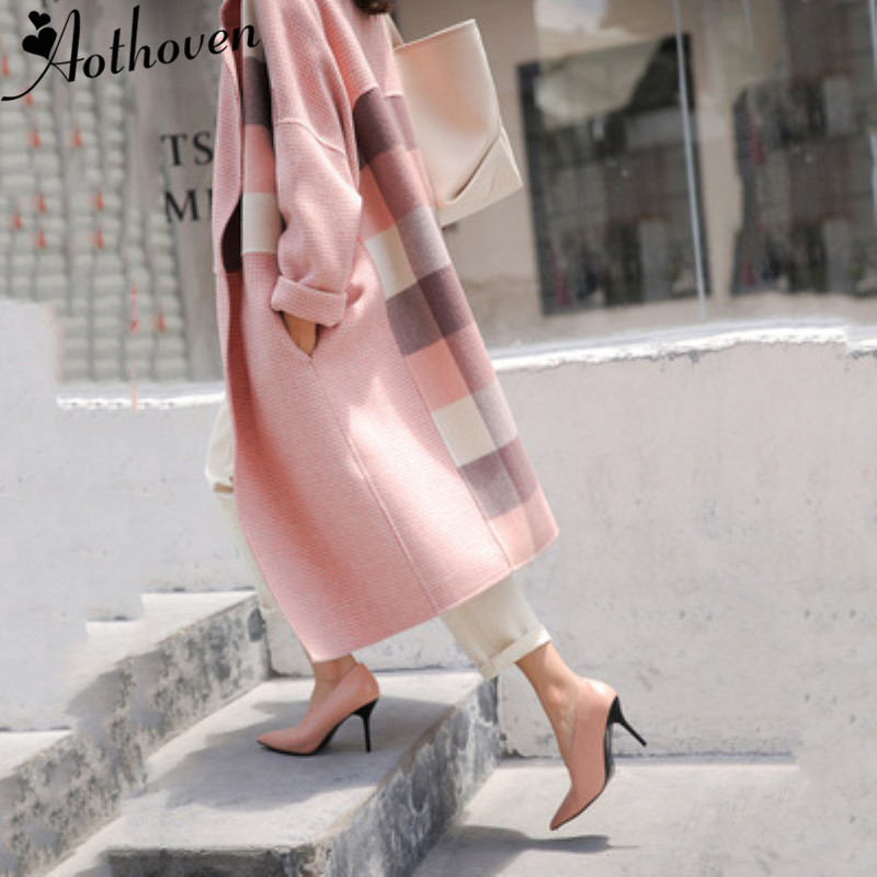 2018 Autumn Winter Women Wool Coat High Quality Double Sided Cashmere   Trench   Coat Female Casual Loose Oversize Plaid Overcoat