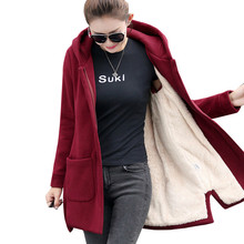 2019 Autumn Winter Women's Fleece Jacket Coats Female Long Hooded Coats Outerwea