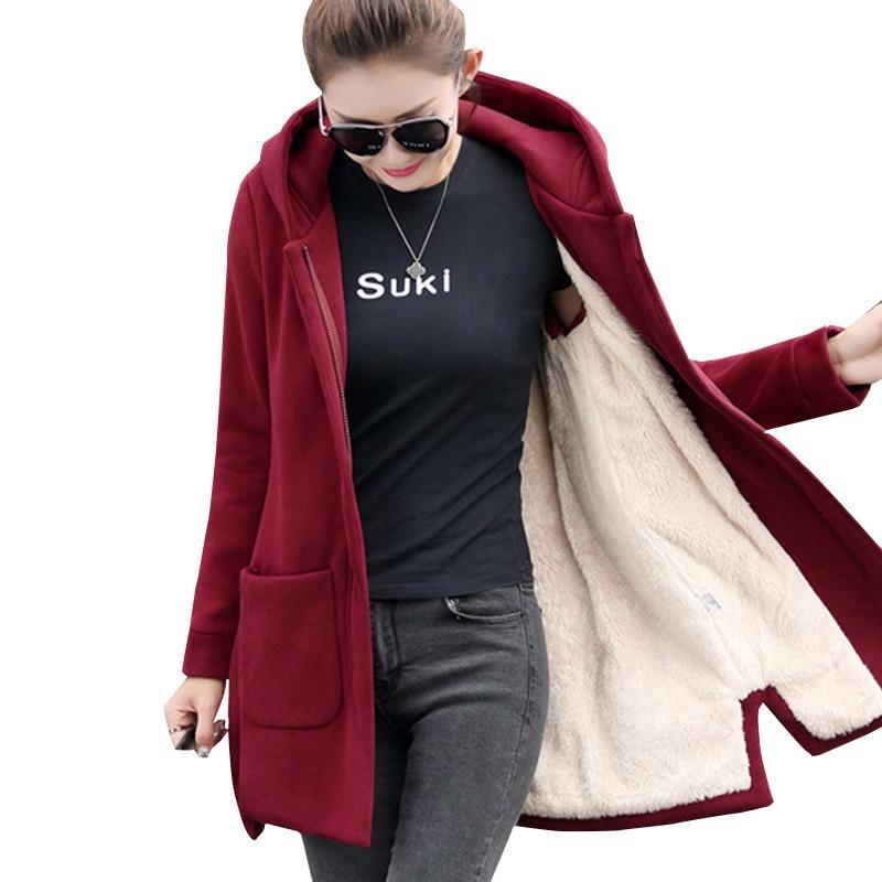 2019 Autumn Winter Women's Fleece Jacket Coats Female Long Hooded Coats Outerwear Warm Thick Female Red Slim Fit Hoodies Jackets