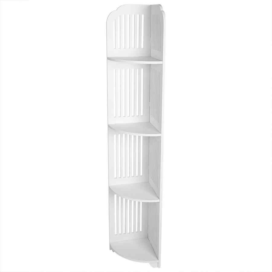 etagere sur pied en bois blanc a 4 niveaux meuble de rangement pour la salle de bain et la chambre a coucher