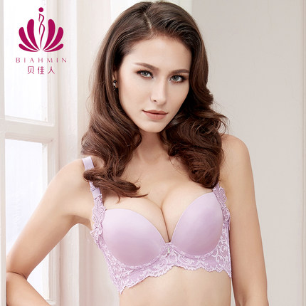 02a373b59d Thick Deep V adjustable sexy purple girls collection bra lace thin  underwear large breasts female 70 75 80 85 90 b c Cup Bra