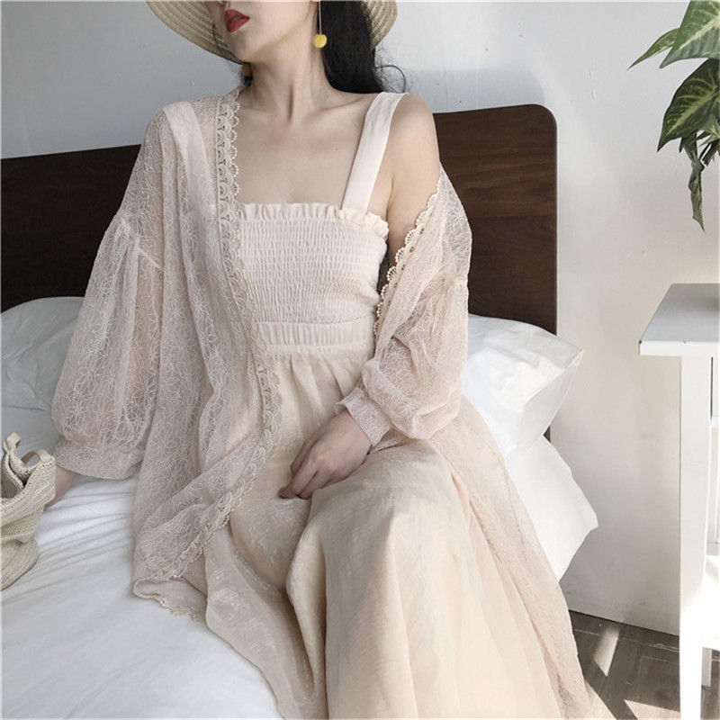 Hot Sale Women Fashion Shirts Summer Sunscreen Lace Shirts Loose Sun Protection Long Blouse Lantern Sleeve Chic Cardigan Blusas