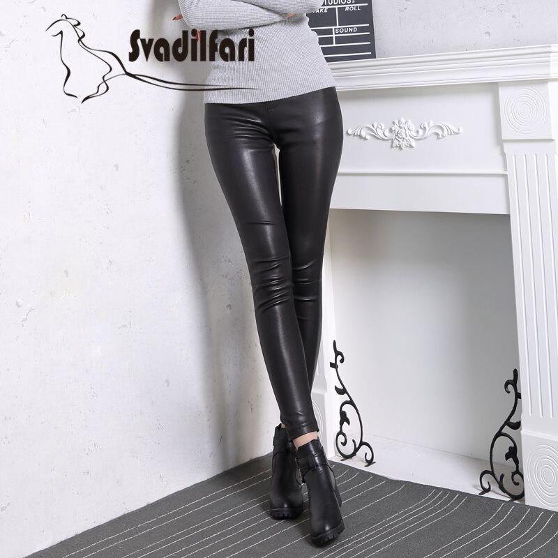 Avec Taille Velours Femmes Épais En Style Pour L'hiver Haute Élastique Cuir 2018 Nouvelle Réel Black De Cool Cut Maigre Mode Long Pantalon Slim n6xqzO