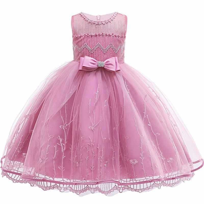 Princess Girl Party Dresses Flower Petals Bow Wedding Dress for Christmas Kids Birthday Clothes 2-12 Years