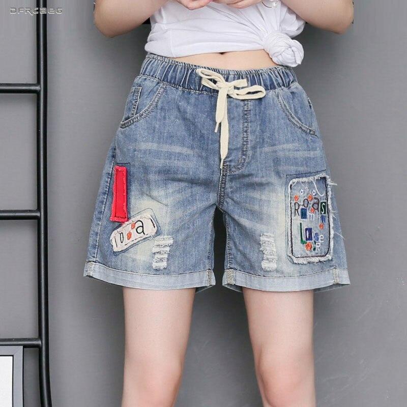 3XL 4XL High Waist Plus Size Embroidery Denim Shorts Women 2019 Fashion Summer Retro Blue Shorts Jeans Casual Saia Jeans Female