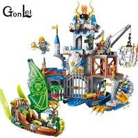 GonLeI להאיר אבן בניין מלחמת טירת אבירי טירה של תהילה רסיס נץ 656 יחידות לבנים מתנת ילד צעצוע