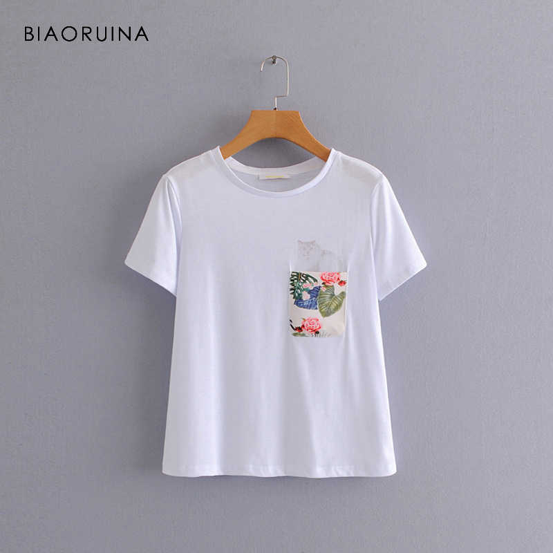 BIAORUINA Women American Style Casual Cat Printed T-shirt O-neck Short Sleeve Female All-match White T-shirt Women's Basic Tees