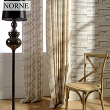 NORNE Geometry Embroidered Voile Window Curtains Panels For Living Dinning Room Darkening Treatment Drapes Curtain for Bedroom