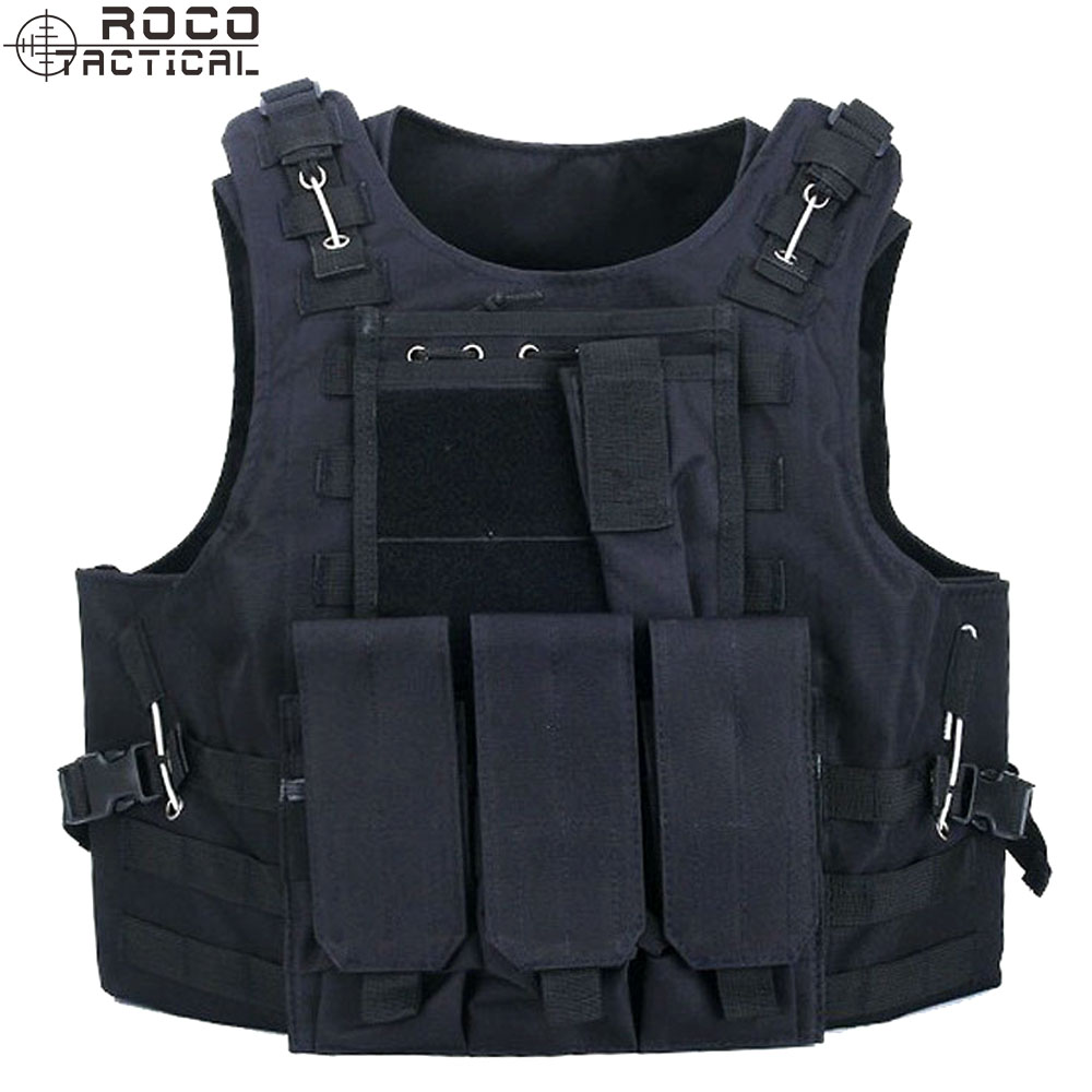 ROCOTACTICAL Molle Tactical Vest with Triple Mag Pouch Military Accessories Bag Hunting Airsoft Tactical Plate Carrier
