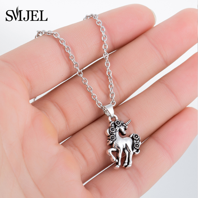 SMJEL Horse Necklace For Girls Children Men Punk Horse Jewelry Accessories Women Animal Necklace Pendant Unicorn Party