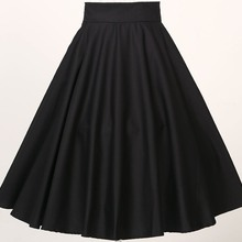 Юбки для танцев, вечеринок, для девочек, полный круг, черный, богемный, хлопок, xxxL размера плюс, Европейский, британский дизайн, юбка, 50 s, высокая талия