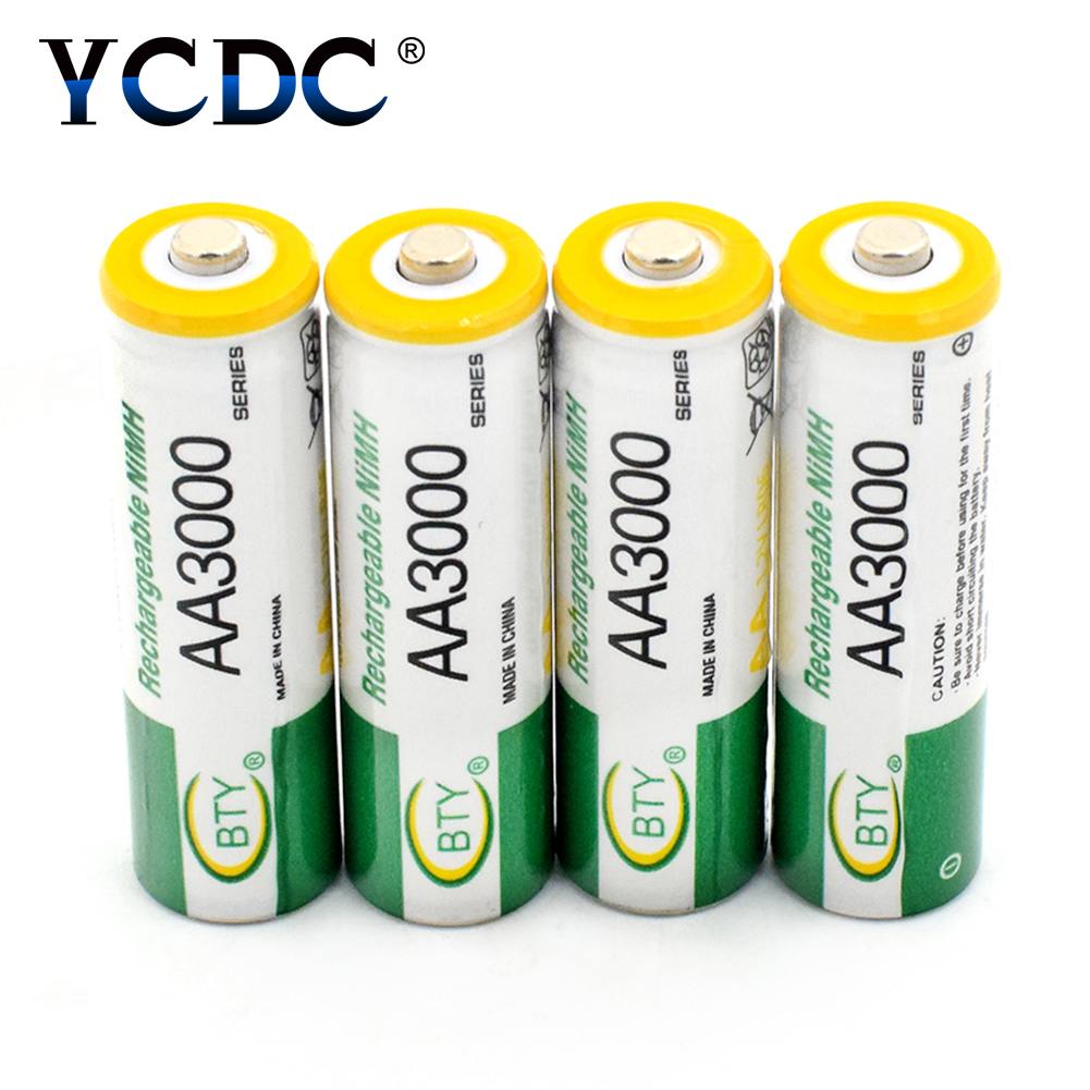 YCDC 49%OFF AA Rechargeable Battery LR6 HR6 MN1500 15A 15AC 3000mAh Ni-MH Rechargeable Battery Multi-purpose Power