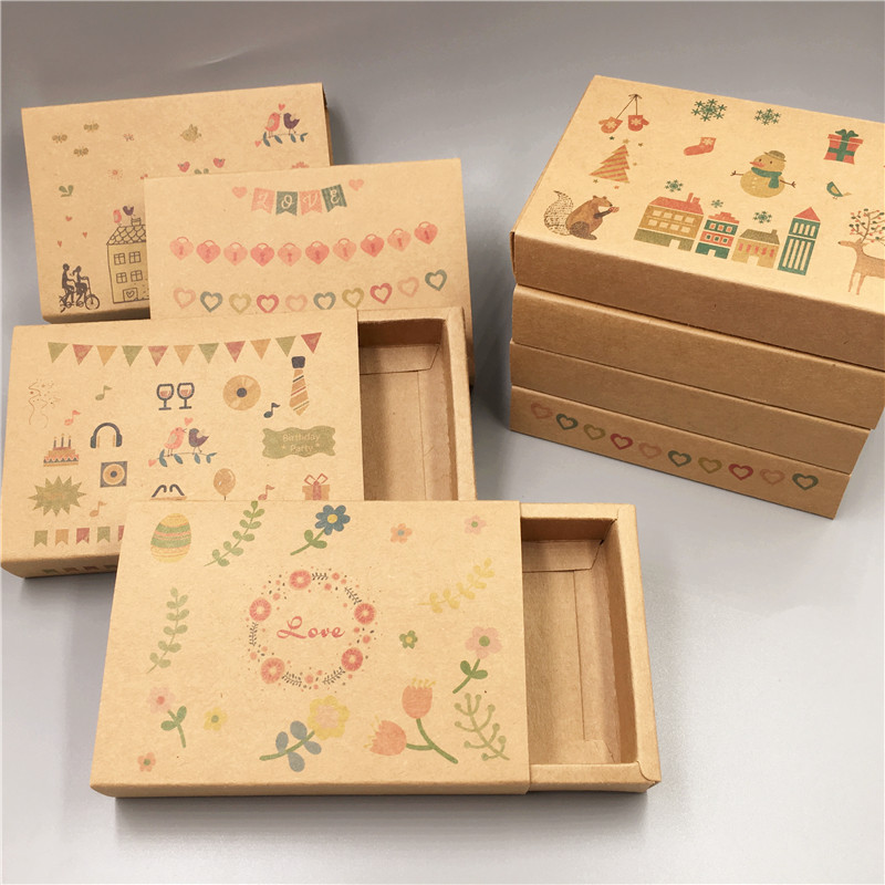 1Pcs Printing Drawer Box Retail Kraft Paper Brown Retro Styles Handmade For Jewelry Accessory Packaging Paper Boxes Case Favors