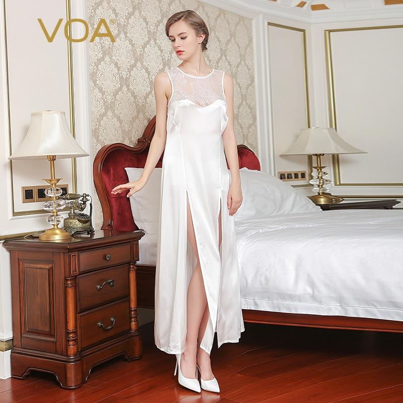 VOA 2017 Summer Women White Sexy Silk Nightdress Sleeveless Lace - Underwear