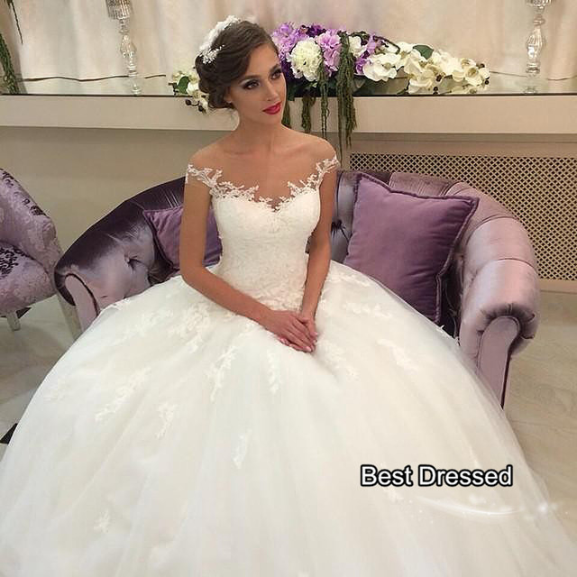 SoAyle dramatic silhouette French lace Ball gown Wedding Dresses ...