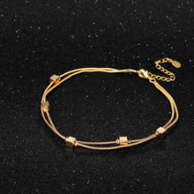 Fashion Sexy Gold Beach Anklets Square Metal Ankle Bracelet Foot Jewelry for Women Flower Anklets Bracelet on the Leg Never Fade