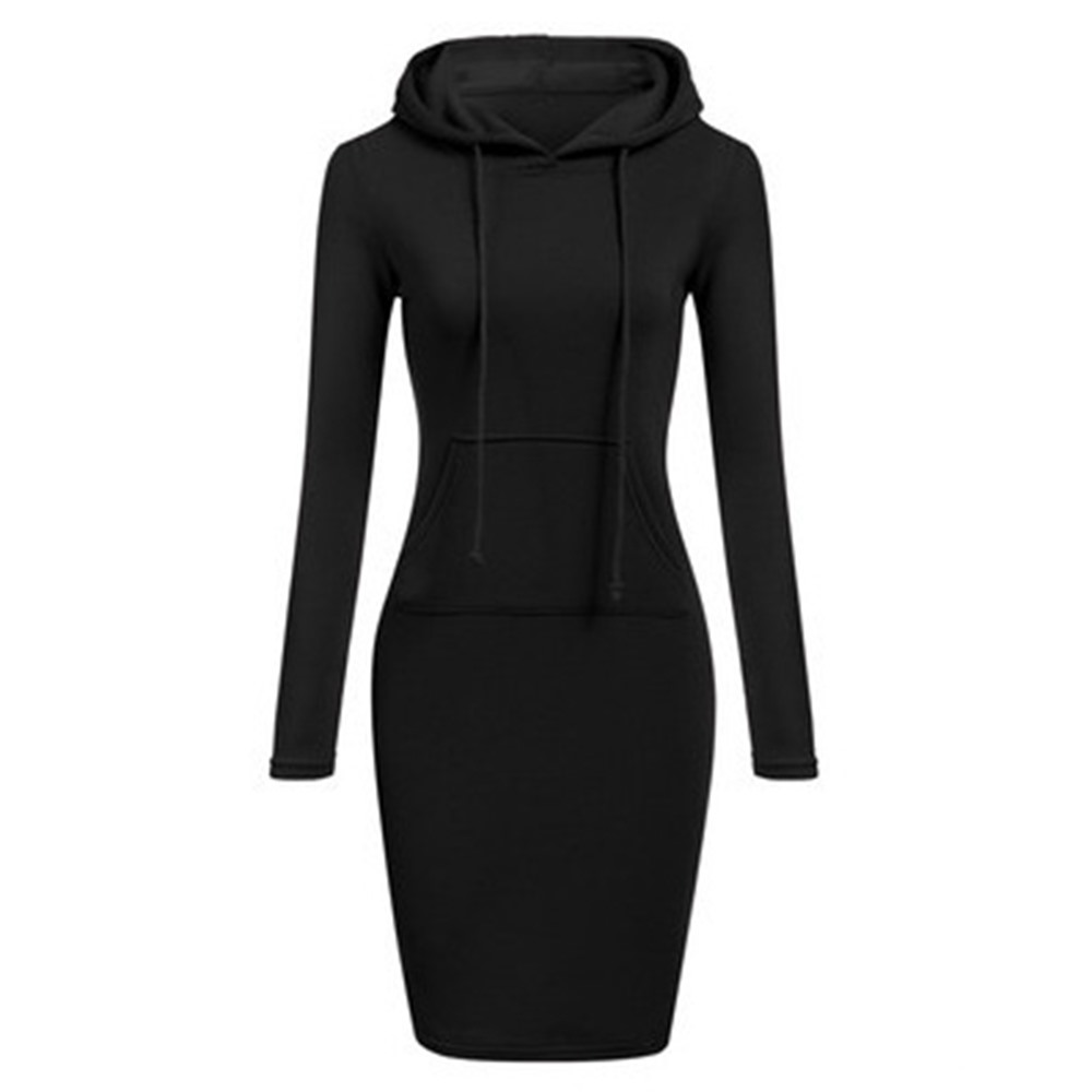 Rosetic Black Hooded Bodycon Dress Women Autumn Gray High Street Fitness Skinny School Casual Mini Dresses Female Gothic Warm