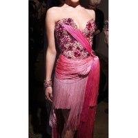 Розовое платье с кисточками, костюмы для сценического шоу, бар, Dj, танцоры, сексуальная одежда для ночного клуба, DS, певица, Рейв, одежда со ст