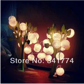 Novelty LED luminarias Pendant Rattan Cotton Balls Strings Lights Garland for Home Crist ...