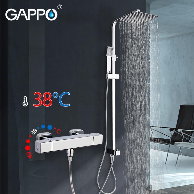 GAPPO doccia miscelatore rubinetto Quadrato bagno termostato Vasca Da Bagno rubinetto miscelatore cascata cromata montaggio a parete miscelatore vasca rubinetti rubinetto