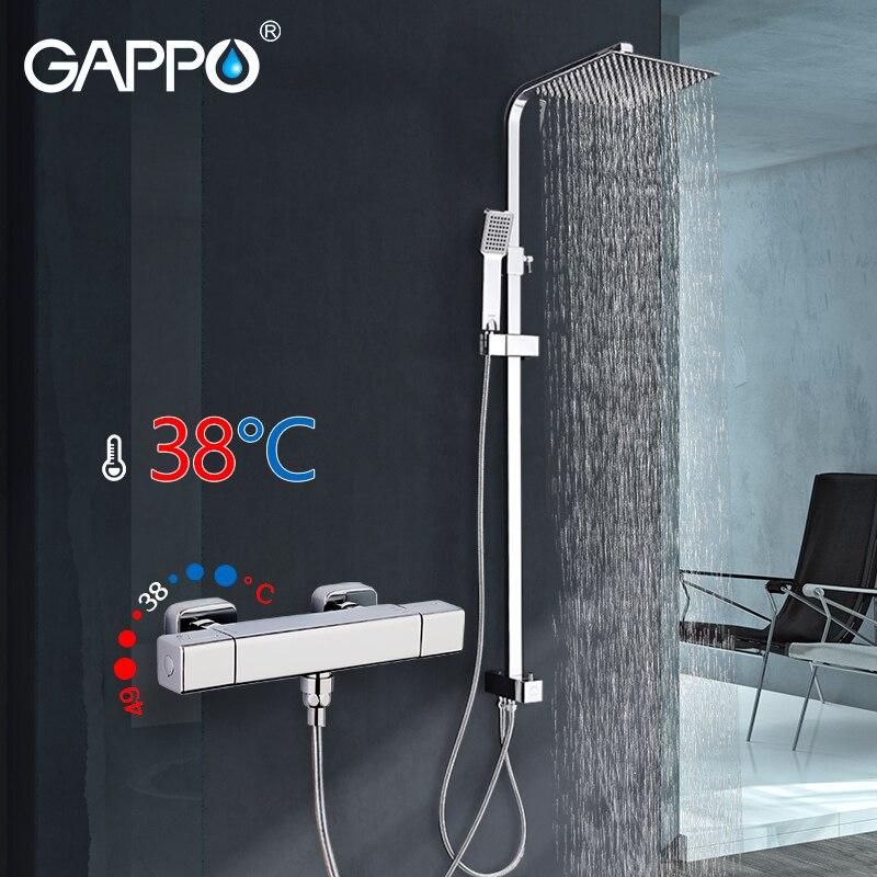 GAPPO douche robinet mitigeur Carré salle de bains thermostat Baignoire robinet mélangeur chrome cascade wall mount bath mixer tap robinets
