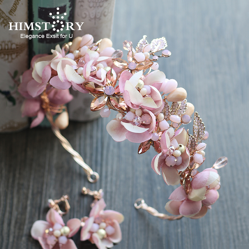 Himstory Handmade Romantic Princess Wedding Hairband Pink Blossom Flower Crown Pageant Prom Headband Hair Accessories baby hairband crystal tiara hairband kid girl bridal princess prom crown party accessiories princess prom crown headband