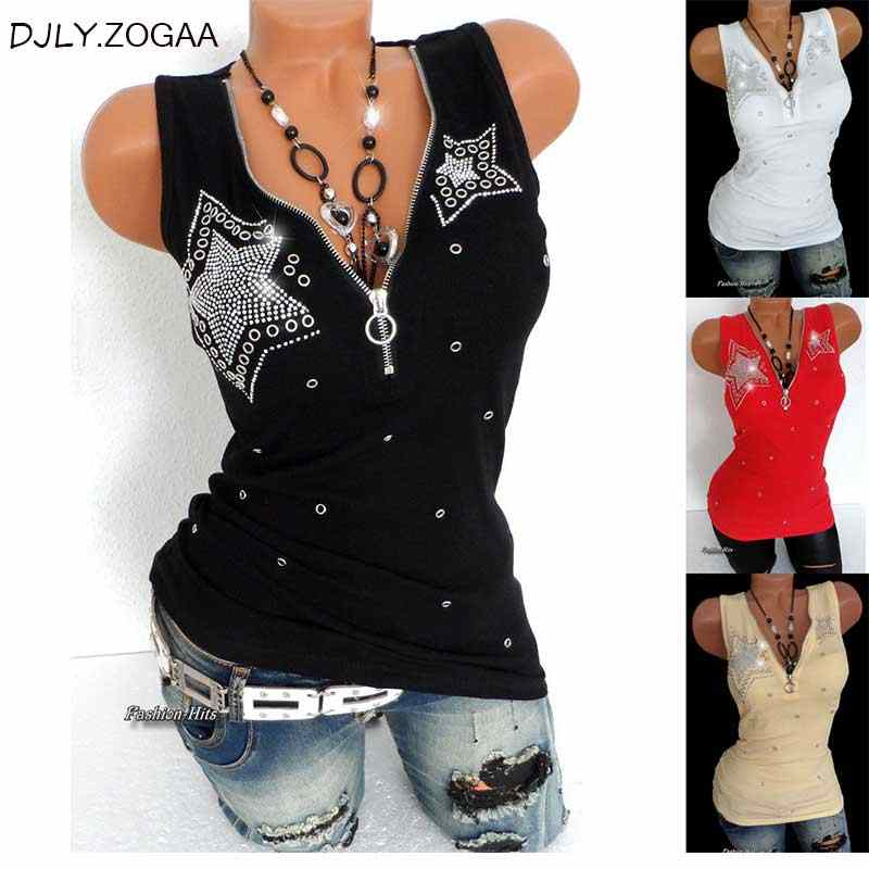 Plus Size S-5XL Women Fashion Sleeveless Vest Tops V-neck Zipper Club Party Printed Casual Tunic Tank Top