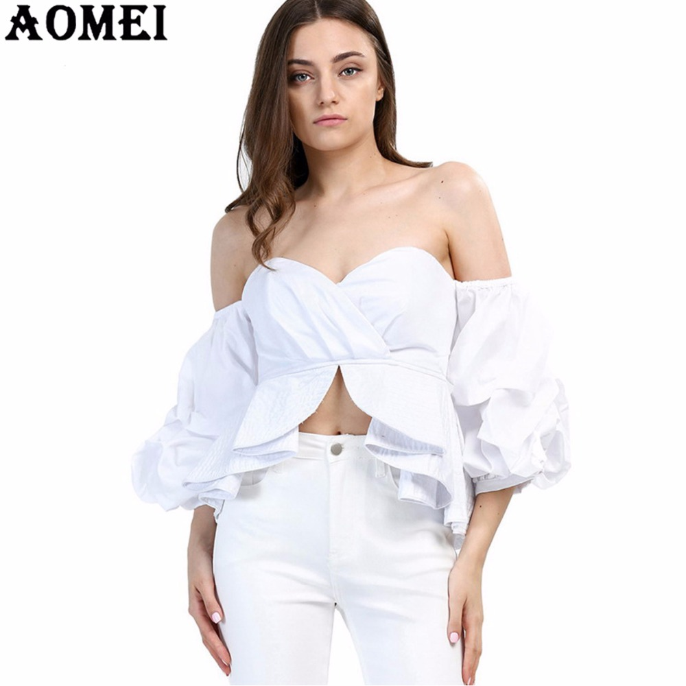 Women white blue ruffles puff sleeve blouse sexy wrapped chest tops summer casual party wear - Top femme sexy ...