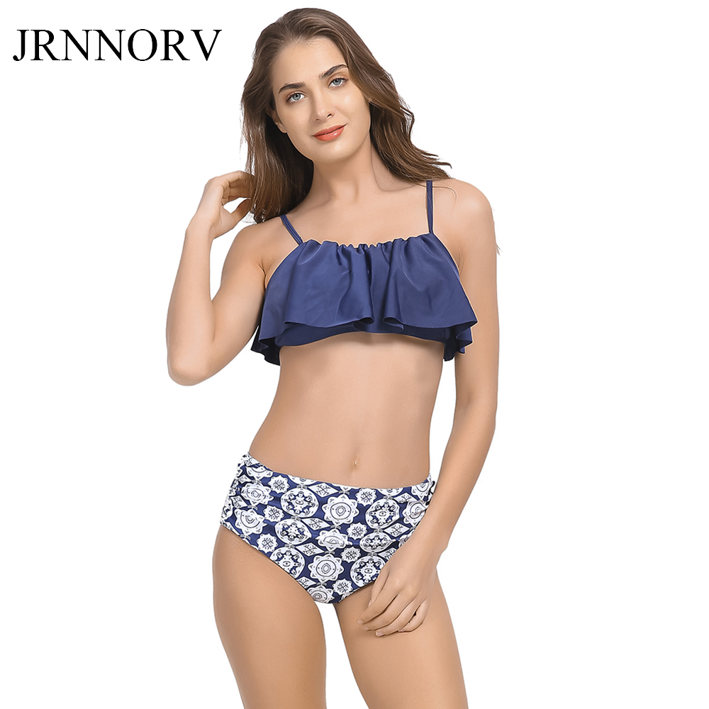 Jrnnorv Tankini Bikinis For Women Swimwear High Waist Swimsuit Halter Sexy Bikini Set Retro Bathing Suits Plus Size AA00004 ...
