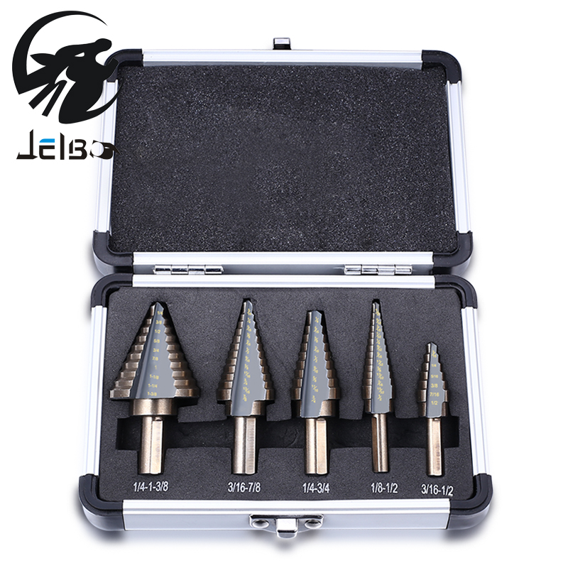 Jelbo 5PC Step Drill Bit Power Tools Set Multiple Hole Step Drill Bit Set Tools HSS Cobalt Multiple Hole 50 Sizes Step Drills 1pc 4 32mm ex drills taper power tools step drill bit metal hss steel cone step drill sharpening hole countersink tools bit