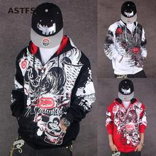 The United States Hiphop Tide Tracksuit Men Brand Original Design The Assassins Hoodie Dragon Poor Handwriting Felpa Da Uomo BTS