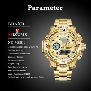 Image 2 - Quartz Digital Watch Men Sports Watches Man LED Waterproof Chrono Military Relogio Masculino Fashion Gold Steel Mens Wristwatch