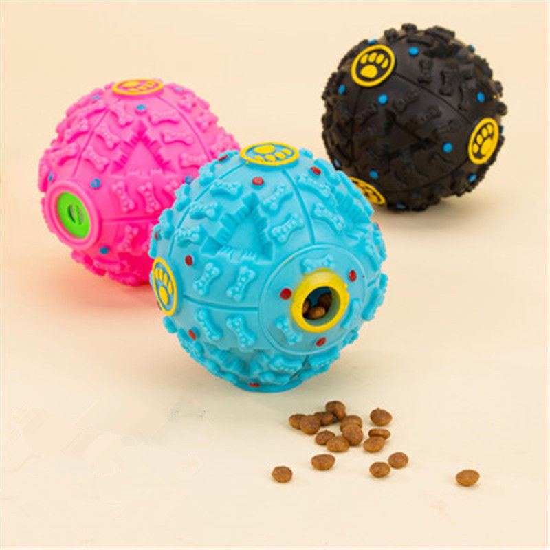 Puppy Dog Cat Food Dispenser Ball Silicone Sound Pet Dog Golden Retriever chew ball toy 3 Colors
