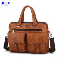 JEEP Sulppai Men Briefcase with Quality Pu Leather Men Crossbody Bag Men Shoulder Bag for 13.3 Inch Laptop Computer Bags