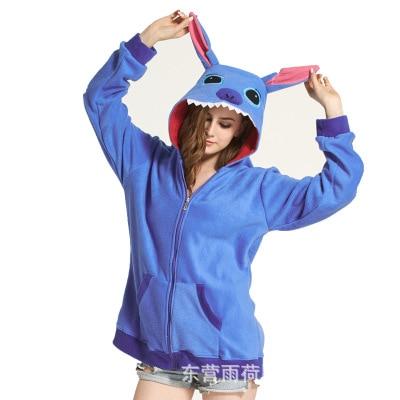 Anime Cartoon Lilo & Stitch Sweater Hoodie Blue Stitch Polar Fleece Lady Home Wear Home Sleepwear Stitch cosplay