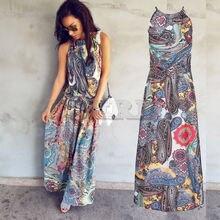 hirigin Multicolor Floral Print Button Split Front Flare Beach Wear Boho Maxi Dress Women Short Sleeve halter Long Dress