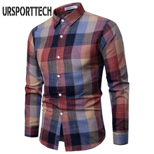 URSPORTTECH New Hot Men Plaid Shirt Long Sleeve Dress Shirts 2019 Fashion Casual Multi-color Checkered Cotton Chemise Homme 3XL