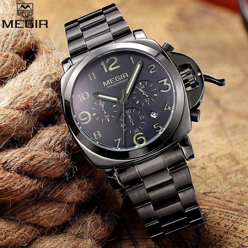Luminous Hands Chronograph Black Steel Men Watch Luxury Brand MEGIR Business Male Quartz Wrist Watch Men Sports Clock Relogios все цены