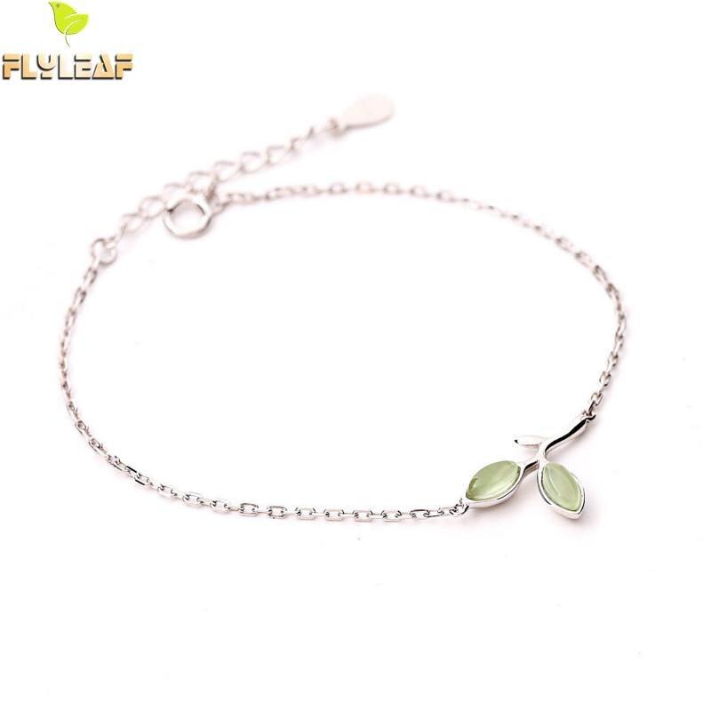 Flyleaf 100% 925 Sterling Argent Opale Vert Feuilles Bourgeons Charme Bracelets Pour Les Femmes de Haute Qualité Bijoux De Mode