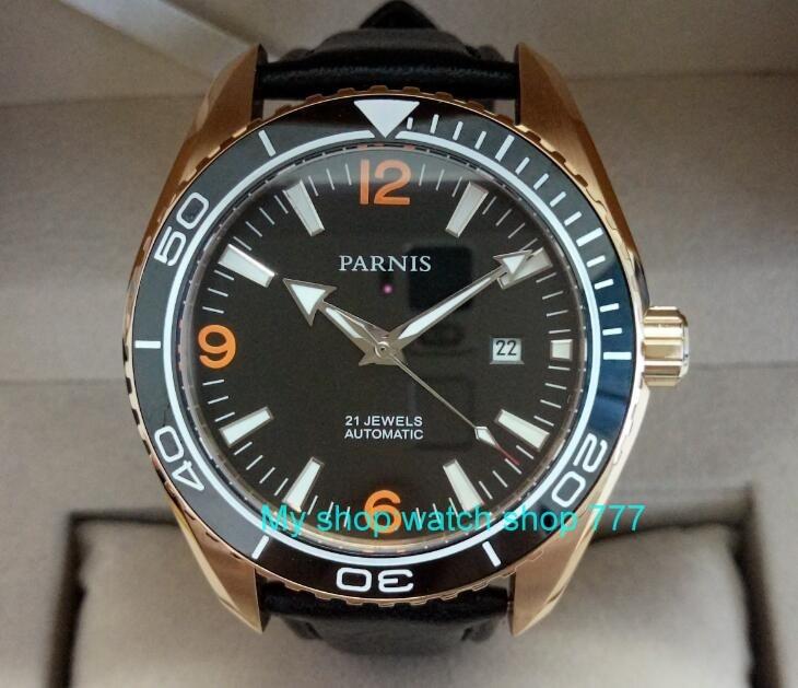 Sapphire Crystal 45mm PARNIS Japanse 21 Juwelen Automatische Self Wind Mechanische beweging keramiek Bezel 5ATM heren Horloges 447A-in Mechanische Horloges van Horloges op  Groep 1