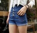 2014 primavera nueva moda de un solo pecho cintura que se encrespa pantalones cortos de mezclilla cortos D013