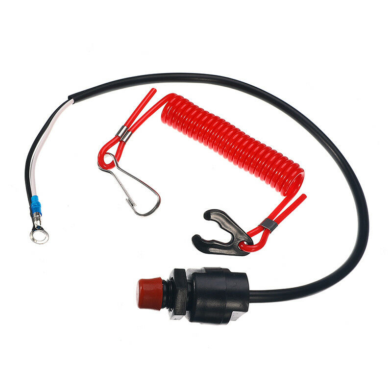 Wire Engine Outboard Kill Switch Component Set Protection Plastic Black Safety Lanyard Motor Replacement Parts