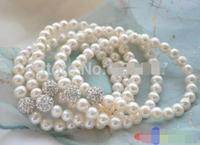 Stretch wholesale 8 8mm white pearl silver stone beads bracelet 5pcs>>> women jewerly Free shipping