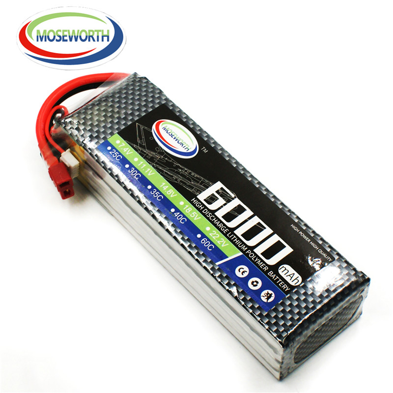 Lipo Battery 4S 14.8V 6000mAh 25C For RC Drone Helicopter Quadcopter Airplane Car Remote Control Toys Lithium Polymer Battery