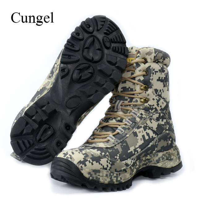 Cungel Outdoor Hiking Shoes Camouflage Men waterproof Hunting boots Military Desert Combat boots trekking Mountain Climbing