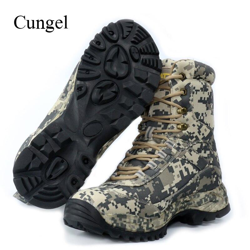 Cungel chaussures de randonnée en plein air Camouflage hommes bottes de chasse imperméables bottes de Combat du désert militaire trekking escalade